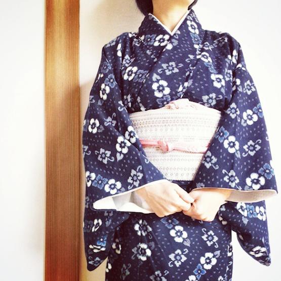 藍染手織 久留米絣の着物