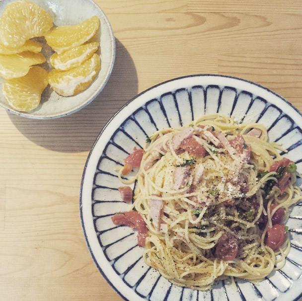 福田るい しのぎ皿とパスタ