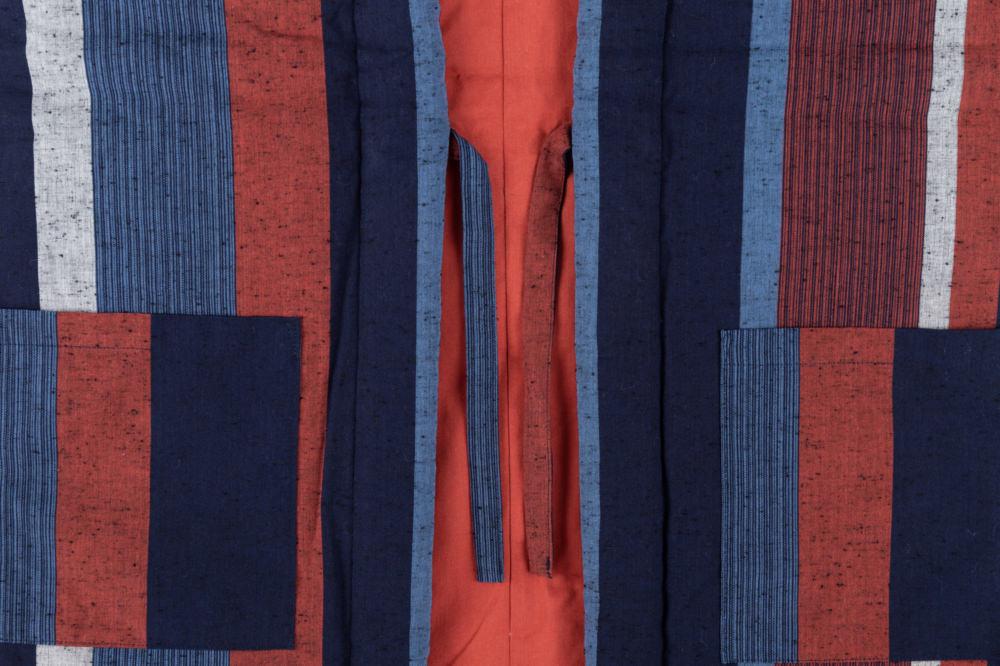藍調袢天 赤大縞