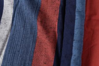藍調袢天 赤大縞 2L