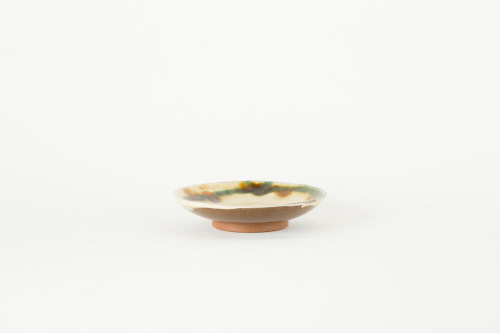 皿 5寸 三彩