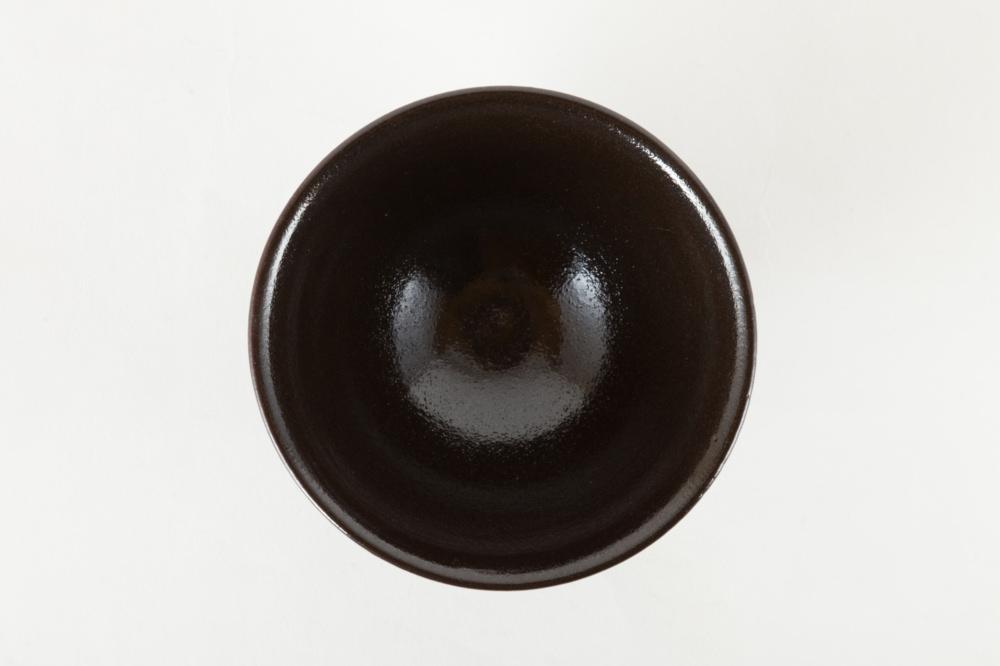 飯碗 黒 青流し