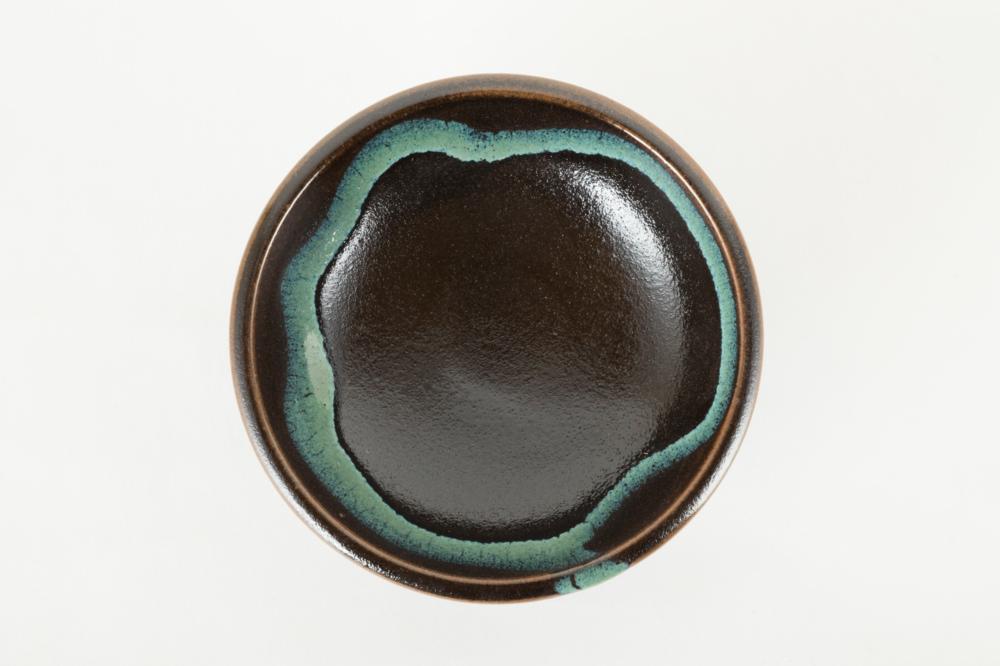 鉢 黒 青流し