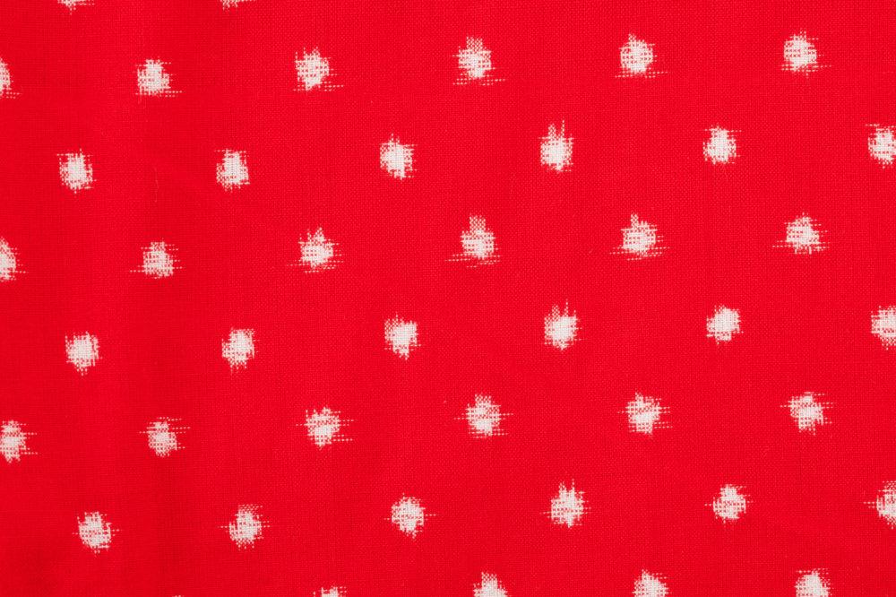 冬もんぺ 久留米絣 あられ柄 赤【最強の部屋着シリーズ】