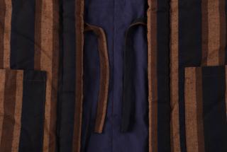 藍調袢天 黒茶縞 2L