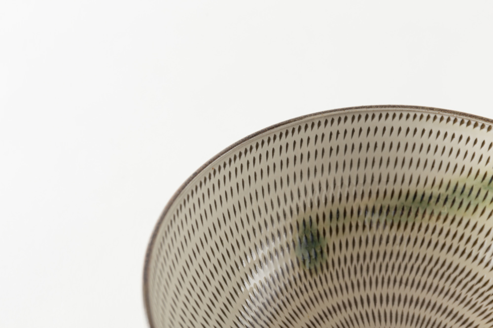 6寸深鉢 飛び鉋 打ち掛け