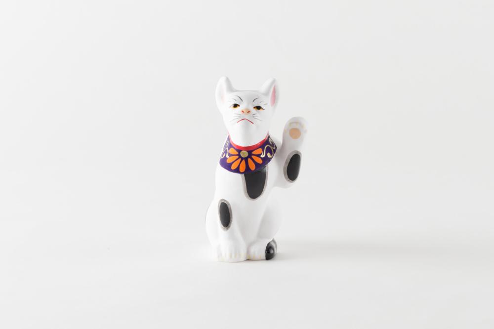 招き猫 紫よだれかけ