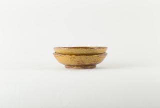 黄釉 六角皿