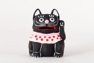 弓野人形 招き黒猫