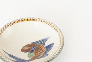 3.5寸皿/青釉魚文海老文線彫忠作