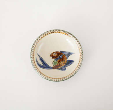 3.5寸皿/青釉魚文線彫忠作