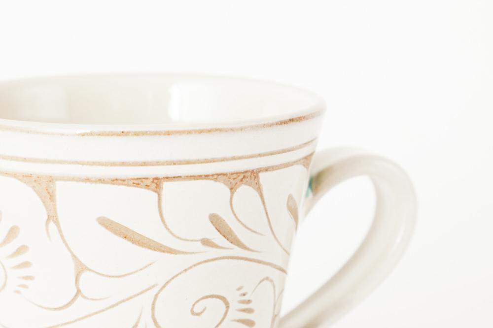 マグカップ 小/白唐草線彫