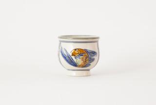 湯呑み/青釉魚文線彫忠作