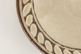 四寸皿 象嵌 白
