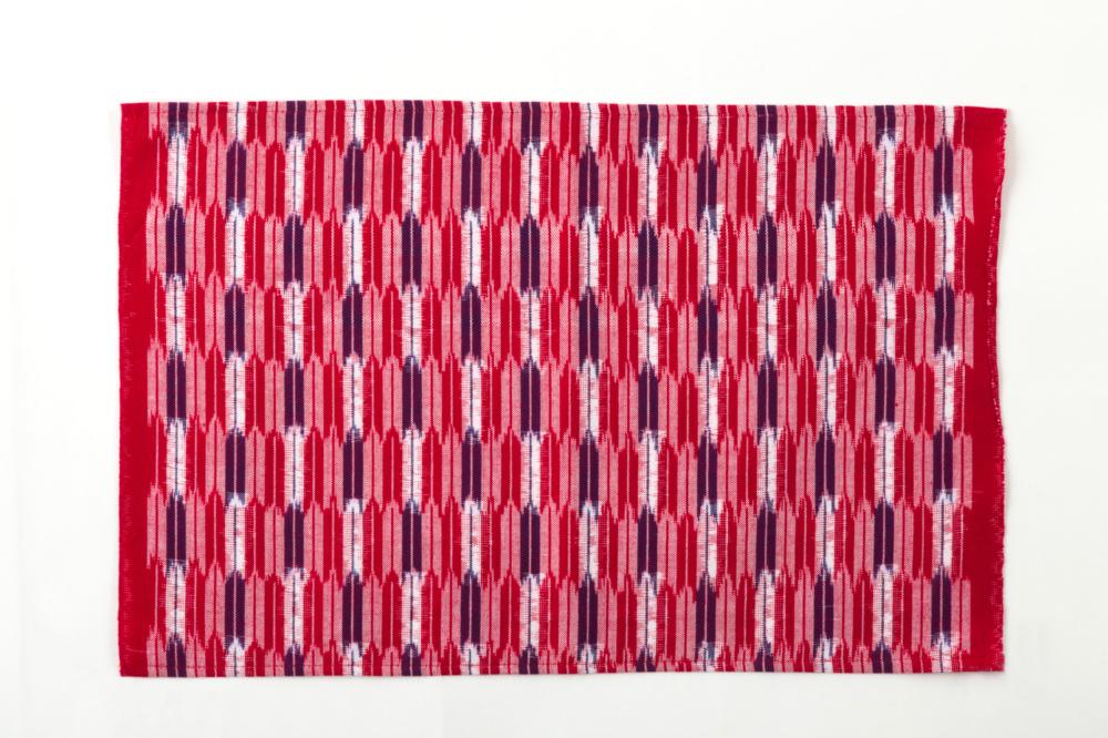 久留米絣のためのハンカチ 経緯絣 矢絣小