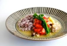 【日々のご飯と器の記録】鶏肉と野菜のグリーンカレー・レシピと小石原焼・鬼丸豊喜窯