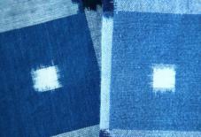 10年ものの藍染手織り、久留米絣。