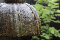 雨に打たれる石灯籠。
