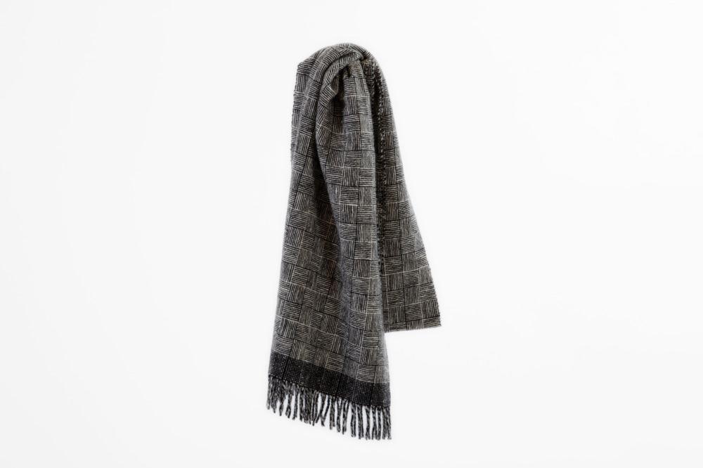 手織り手紡ぎ カシミヤマフラー 網代