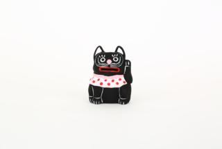 弓野人形 招き黒猫 白目