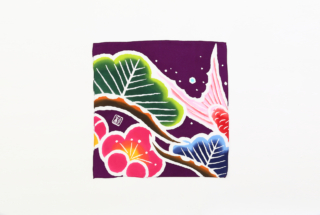 大漁旗のハンカチ 松梅鯛
