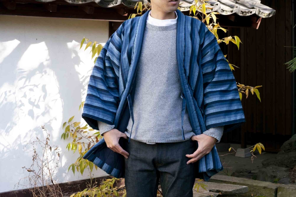 藍調袢天 大判 カツオ縞  2L