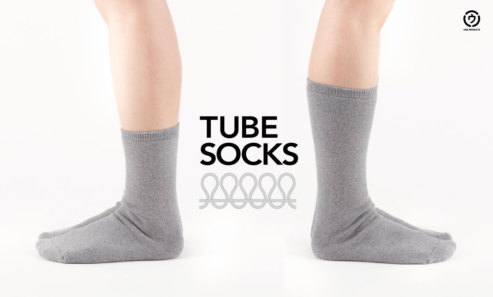 TUBE SOCKS / かかとがない靴下。総パイル編みで暖かな履き心地