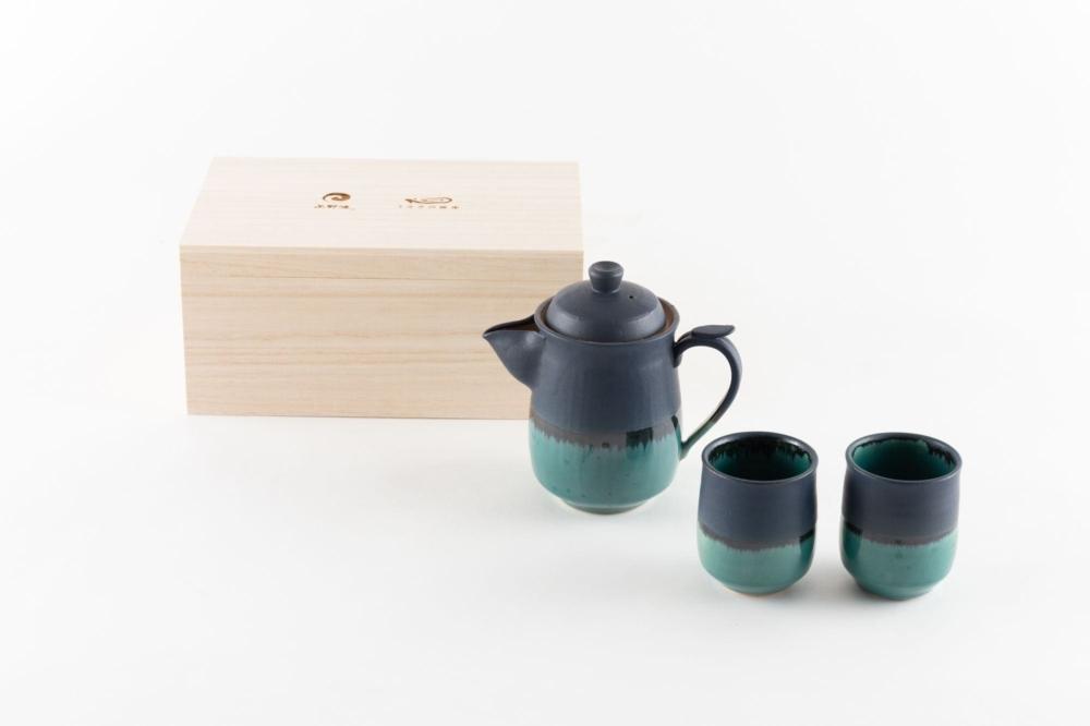 昇龍窯 上野焼ティーセット 上野緑釉 × マットブラック 箱入り